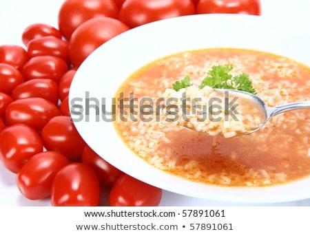 Sopa de tomate arroz decorado salsa sopa refeição Foto stock © joannawnuk