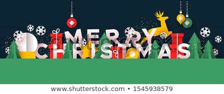 Merry Christmas card papercut forest and gift box Stock photo © cienpies