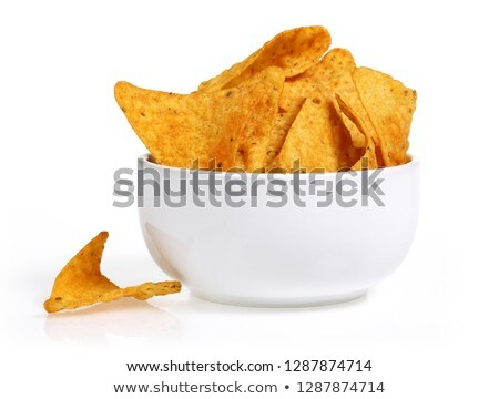 Aardappel nachos kommen fast food keuken Stockfoto © dolgachov