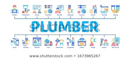 Plombier profession bannière vecteur Photo stock © pikepicture