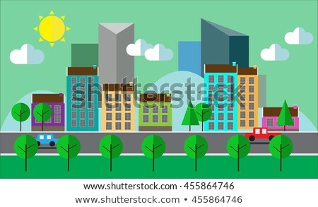 City Center Road with Transport in Motion Vector Stock photo © robuart