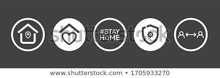 Pobyt domu bezpieczne nowoczesne plakat projektu Zdjęcia stock © SArts