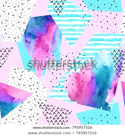 Dotted seamless minimalistic pattern with colorful polygons. Repeatable simple white background - fu Stock photo © ExpressVectors