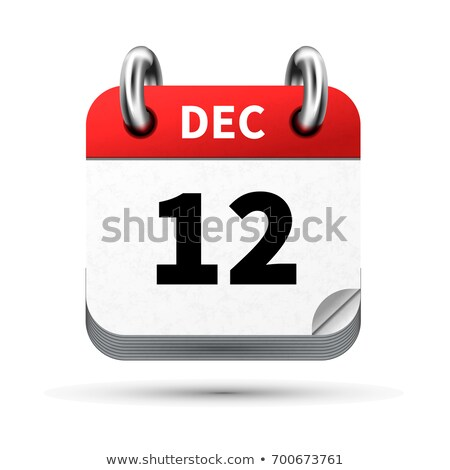 Luminoso realistico icona calendario 12 dicembre Foto d'archivio © evgeny89
