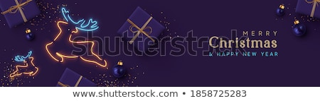 Poster or Banner with Realistic Lamp and Symbol of Christmas Tree Instead of the Filament of Incande Stock photo © sanyal