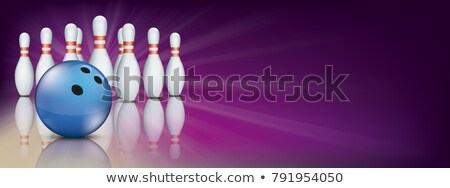Mor bowling pin güverte afiş mavi Stok fotoğraf © limbi007