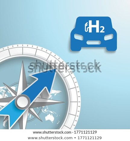 компас автомобилей синий водород икона Сток-фото © limbi007