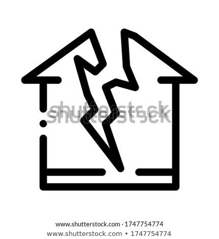 雷 破壊された 家 アイコン ベクトル ストックフォト © pikepicture