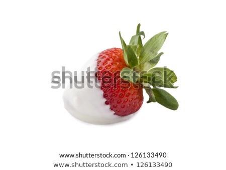 Сток-фото: изолированный · клубника · белый · блюдо · зеленый