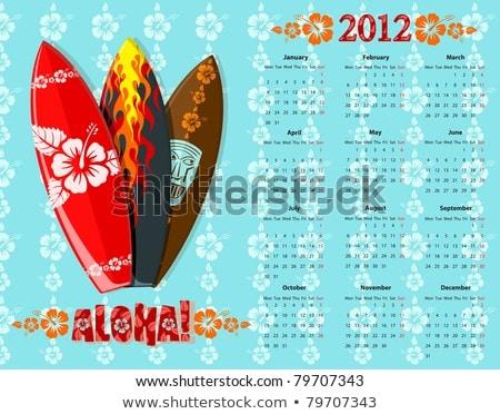 Vector Blue Aloha Calendar 2012 With Surf Boards Photo stock © Elisanth