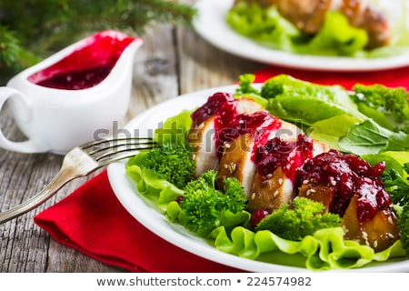 Grilled turkey with light sauce Stock photo © Amaviael