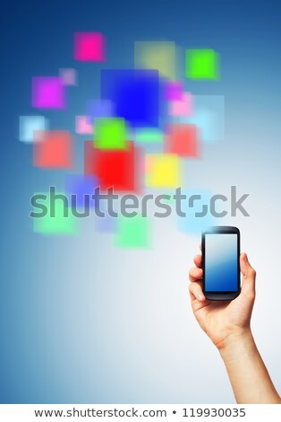 Cell phone and a futuristic digital depiction Stock photo © vlad_star