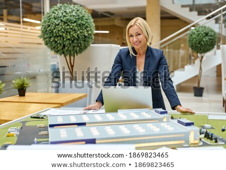 Builder with tiles and laptop Stock photo © photography33
