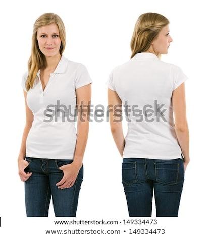 Jóvenes rubio mujer blanco polo foto Foto stock © sumners