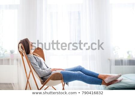 Gyönyörű fiatal nő ablak luxus házbelső nő Stock fotó © Nejron