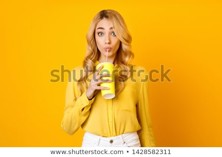 smiling woman holding cocktail Stock photo © dolgachov