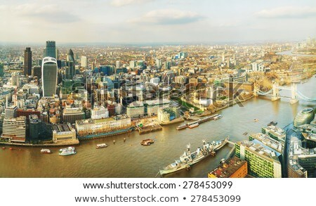 Aerial overview of London city with the Tower fortress Stock photo © AndreyKr