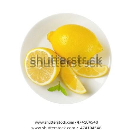 Olgun limon plaka beyaz sarı sağlıklı Stok fotoğraf © Digifoodstock