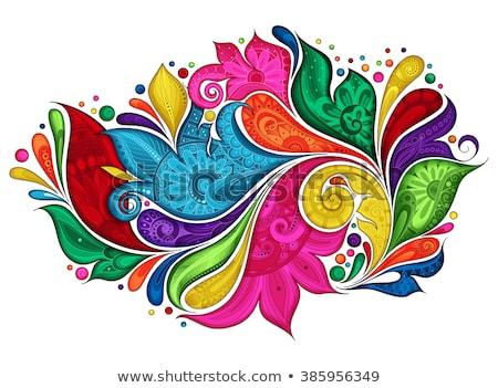 Foto stock: Abstrato · colorido · floral · projeto · folha · silhueta