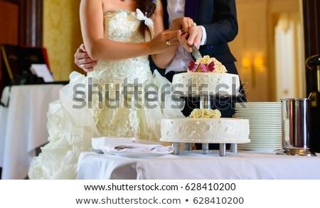 menyasszony · vőlegény · vág · esküvői · torta · recepció · esküvő - stock fotó © ruslanshramko