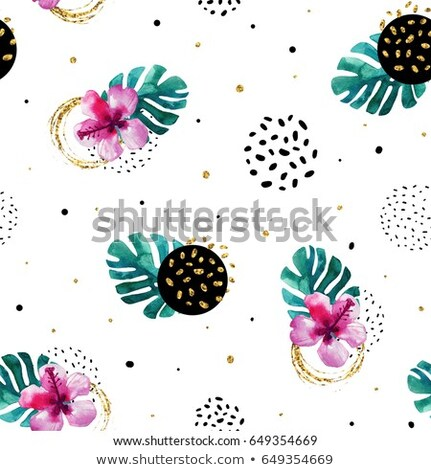 memphis style seamless pattern with golden glitter circles and shapes stock photo © swillskill