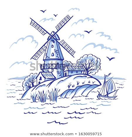 オランダ語 · 風 · 伝統的な · 風車 · 夏 · 日 - ストックフォト © neirfy