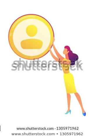 business woman holding golden avatar icon vector illustration stock photo © rastudio
