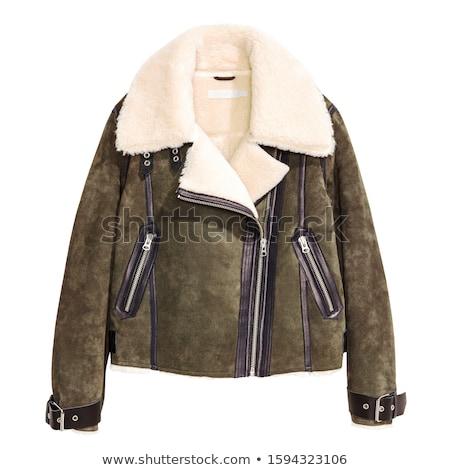 Zdjęcia stock: Ciepły · kurtka · odizolowany · zimą · biały · mężczyzn