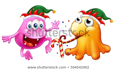 Christmas theme with two monsters at party stock photo © colematt