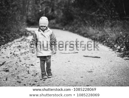 Young sad girl child alone on country forest Stock photo © Lopolo