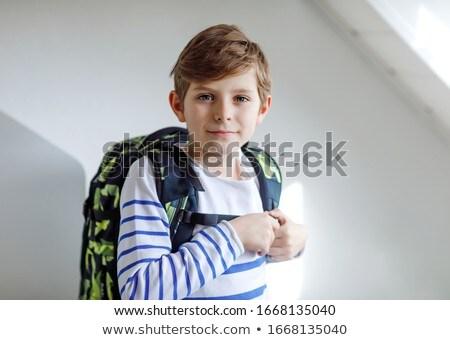 mały · chłopca · piśmie · tablicy · widok · z · tyłu - zdjęcia stock © anna_om