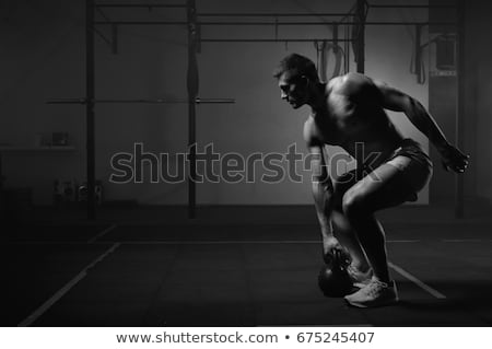 Power, sport and fitness concept. Handsome strong and powerful aggressive man brag perfect shape, sh Stock photo © benzoix