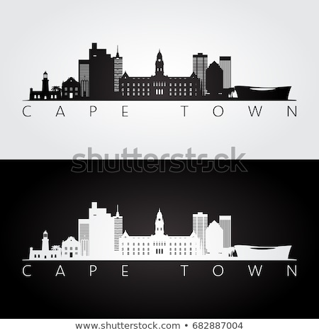 cape town skyline silhouette flat design vector illustration Stock photo © ShustrikS