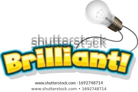 Doopvont ontwerp woord briljant gloeilamp illustratie Stockfoto © bluering