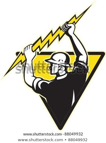 Erő elektomos munkás villanyszerelő tart villám Stock fotó © patrimonio
