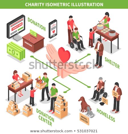 Volunteers Support Thing Box isometric icon vector illustration Stock photo © pikepicture