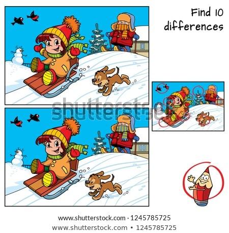 Diferenças jogo esqui meninas desenho animado Foto stock © izakowski