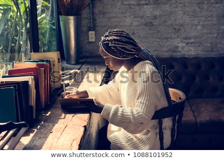 Foto stock: Retrato · mulher · cabelo · trancar · cortar