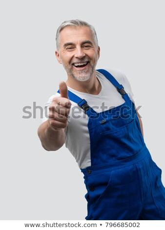 Portré ezermester gesztikulál remek fehér kezek Stock fotó © wavebreak_media