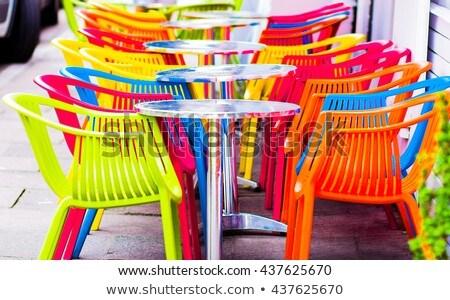 белый · пластиковых · стульев · фото · пусто · местный - Сток-фото © shutswis