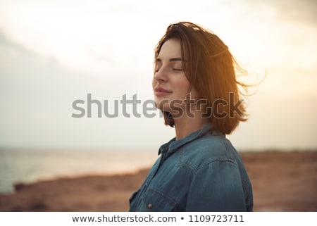 Vonzó nő csukott szemmel gyönyörű barna hajú nő szemek Stock fotó © racoolstudio
