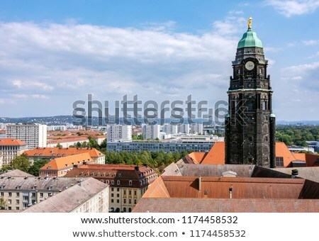 Aerial view over Dresden and the Kreuzkirche Stock photo © manfredxy