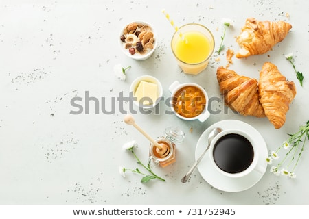 Stockfoto: Koffie · sap · croissants · ontbijt · sinaasappelsap · bessen