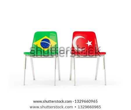 Dwa krzesła flagi Brazylia Turcja odizolowany Zdjęcia stock © MikhailMishchenko