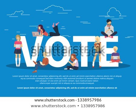 Vote concept. People sitting on a big vote letters and using their mobile phones and lap tops to vot Stock photo © makyzz