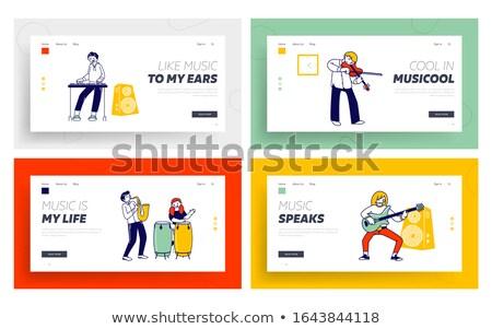 Sztuki lekcje lądowanie strona szablon dzieci Zdjęcia stock © RAStudio