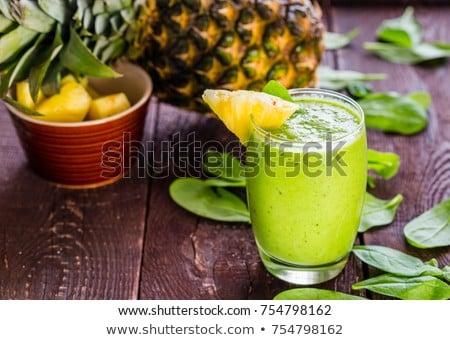 Ananász smoothie friss fa asztal étel gyümölcs Stock fotó © galitskaya