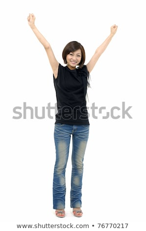Portrait of sweet woman with hands up stock photo © lichtmeister