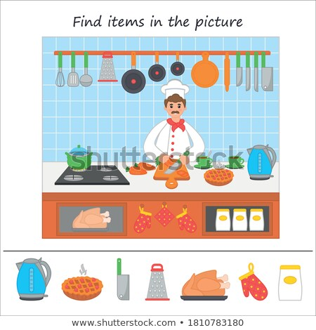 educational pattern game for kids with food and objects Stock photo © izakowski