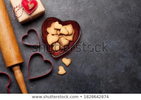Dia dos namorados cartão coração pão de especiarias bolinhos cartão Foto stock © karandaev
